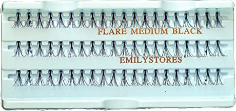 EMILYSTORES 12 Packs Eyelashes Natural Individual Plant Flare Medium Black Eye Extensions Lashes 12mm Long