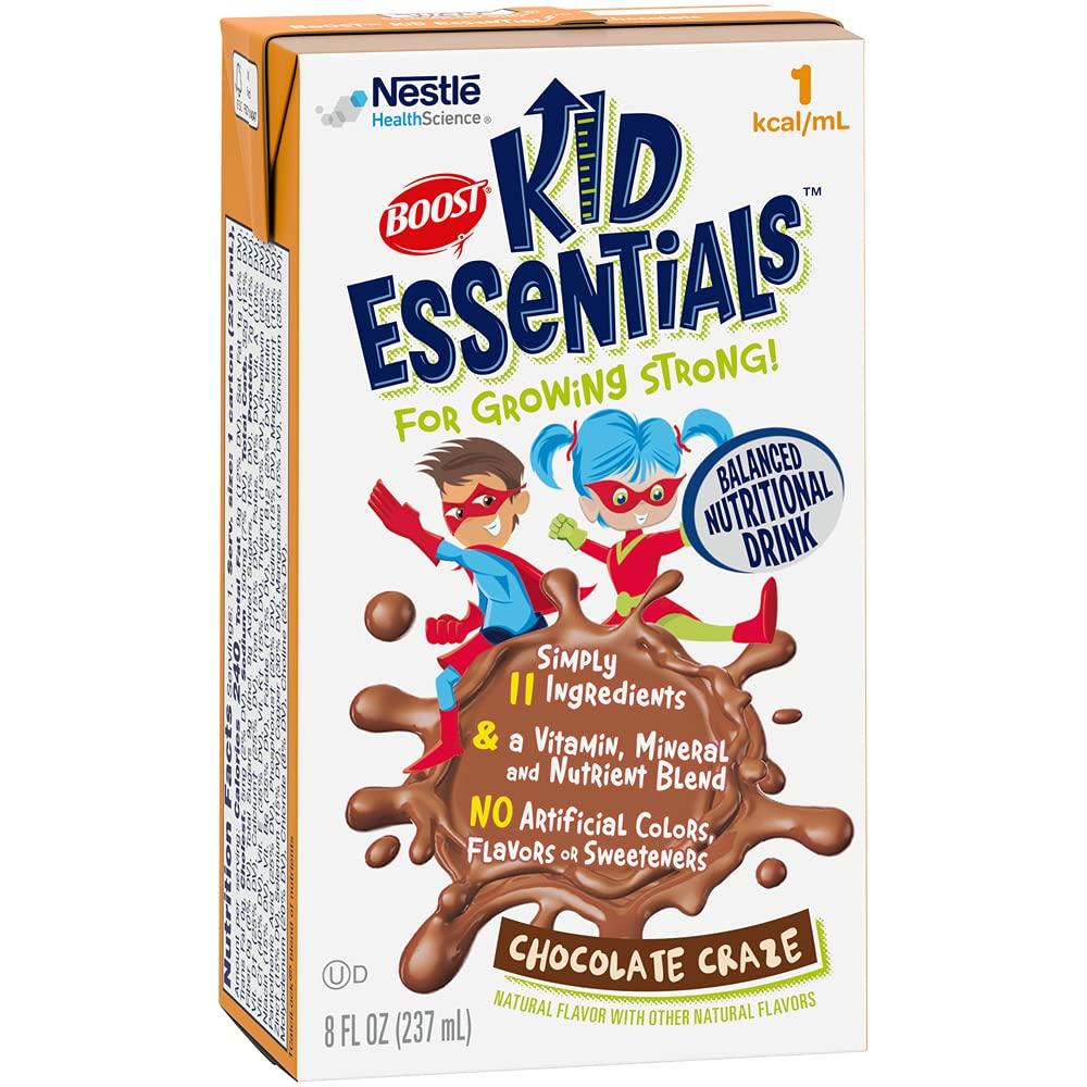 BOOST Kid Essentials 1.0 Balanced Nutritional Drink for Children, Chocolate Craze, 8 fl oz (Case of 27)