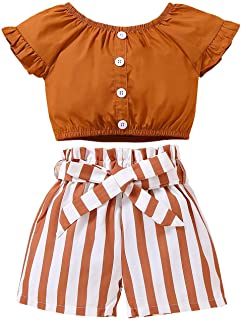 Toddler Kids Baby Girl Clothes Outfit Set Ruffle Sleeve Solid Color Crop Tops Striped Shorts Summer Clothes for Little Girl