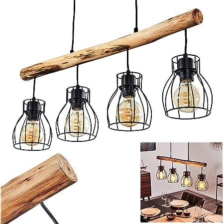 Suspension Krusa en bois et métal noir, 4 lampes pendantes au look rétro, parfait au dessus d'une table de salle à manger, pour 4 ampoules E27 max 40 Watt, compatible ampoules LED