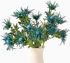 JUDYME 3 Branch Artificial Blue Thistle Flower Bouquet,Fake Plants for Decor Home Wedding Bouquet