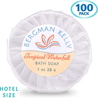 BERGMAN KELLY Travel Soap Bars in Bulk (Tropical Waterfall, 1 oz, 100PK), Hotel Size Cleansing Bar Soap; Small Individually Wrapped Soap Hotel Toiletries Travel Size for Airbnb, Motel, Guest Bathroom