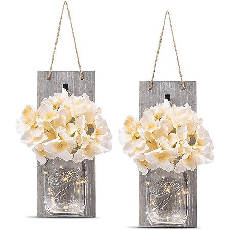 Hand artical Hanging Mason Jar Sconces Winko Mason Jar Sconce Decor with LED Fairy Lights Set of 2