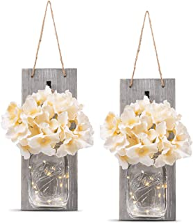Rustic Wall Sconces - Mason Jars Sconce, Rustic Home Decor,Wrought Iron Hooks, Silk Hydrangea and...