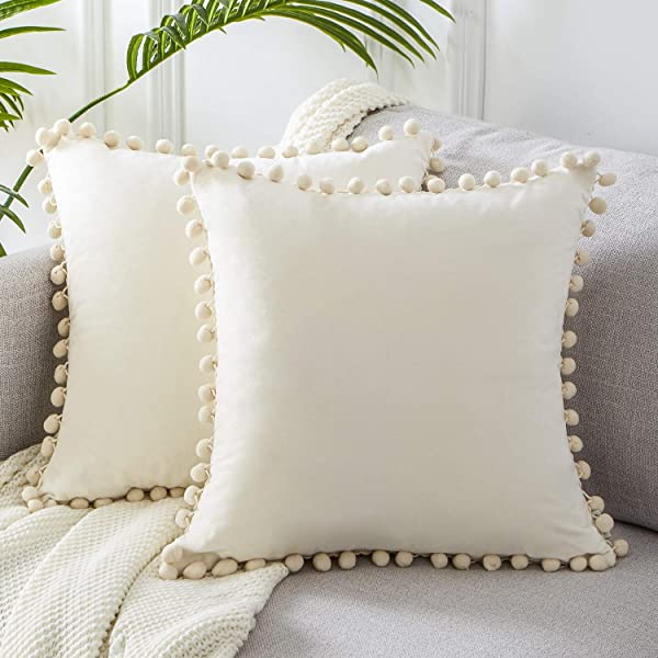 Top Finel Square Decorative Throw Pillow Covers Soft Velvet Outdoor Cushion Covers 18 X 18 With Balls For Sofa Bed Set Of 2 Cream