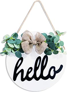 TIMECOSY Hello Sign Farmhouse Décor for Front Porch Home Signs Round (White)…