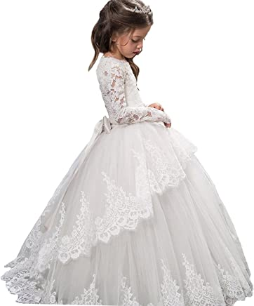 b78b139a35 Sittingley Boho-Chic Flower Girl Dress Lace First Communion Dresses.  Pageant Flower Girls Dress Lace Long Sleeves Princess Tulle Ball Gown