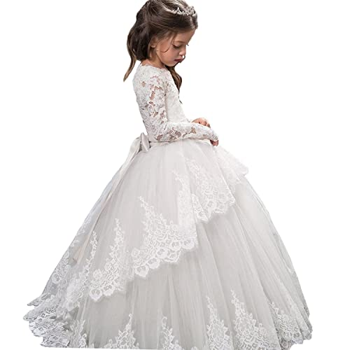 678bc64806 Pageant Flower Girls Dress Lace Long Sleeves Princess Tulle Ball Gown