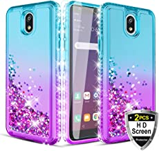 Wallme for LG Escape Plus Case,LG K30 2019/Arena 2/Journey LTE/Tribute Royal Case with HD Screen Protector[2 Pack],Glitter Diamond Hearts Falling,Durable TPU Phone Case for Girls Women-Teal/Purple