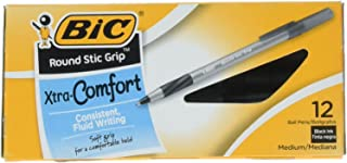 BIC Products – BIC – Ultra Round Stic Grip Ballpoint Stick Pen, Black Ink, Medium, Dozen – Sold As 1 Dozen – Feather-light, ultra-smooth ballpoint pen. – Features BIC's exclusive ink system technology, Easy Glide Feel the Smoothness.TM – Contoured rubber grip. – Frosted, translucent barrel. – Long-lasting: more than 4,300 feet of writing in each pen.