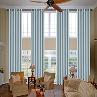 cololeaf Loft Curtains Blackout Thermal Insulated Curtains Room Darkening Winow Treatment Extra Long Curtains Drapes Bronze Grommet Panels - Sky Blue 100W x 240L Inch (1 Panel)
