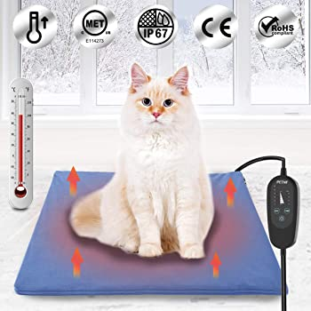 """petnf Upgraded Pet Heating Pad for Dogs Cats with Timer,29.5""""x17.7"""" Safety Cat Dog Heating Pad,Waterproof Heated Cat Dog Bed Mat"""