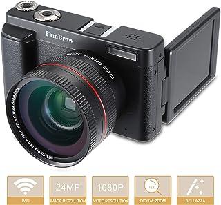 Camara Fotos Digital Full HD 1080PFamBrow WiFi 24MP Camara de Video Digital Zoom 16xGran Angular Lente Rotación de 3.0 Pulgadas Camara de Foto Anti-vibración