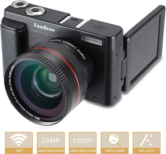 Camara Fotos Digital Full HD 1080PFamBrow WiFi 24MP Camara de Video Digital Zoom 16xGran Angular Lente Rotación de 3.0 Pulgadas Camara de Foto Anti-vibración