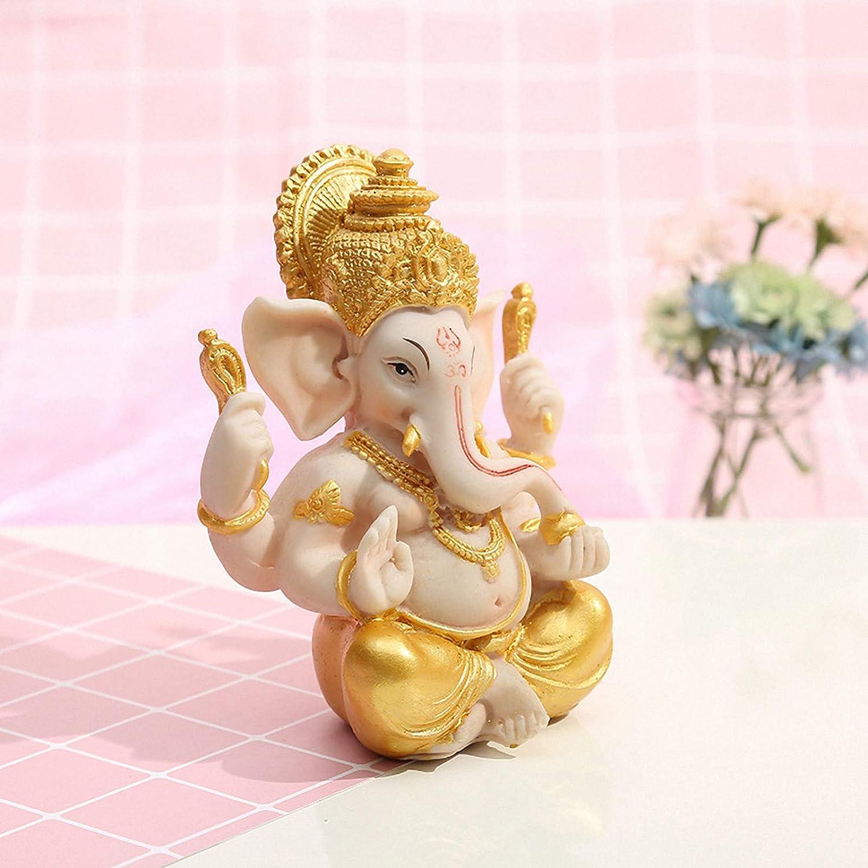 Yardwe Ganesha /Él/éphant Dieu Statue Indien Ganesha Table Bureau Miniature Mod/èle Arts Dieu de La Richesse Chance Sculpture Bouddha Figurine D/écoration de Table 7 5X9cm