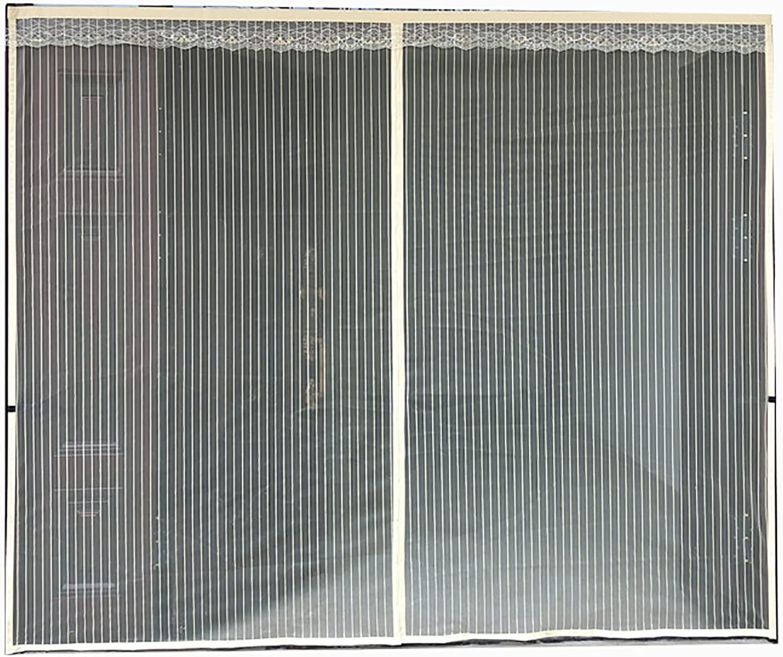 Magnetica Cortina,mosquitera Puerta Abatible Cortina De Malla De Fibra De Vidrio Tejido Súper Fino para Dejar Pasar El Aire para Puertas Terraza(Size:110x210cm,Color:Rayas Beige)