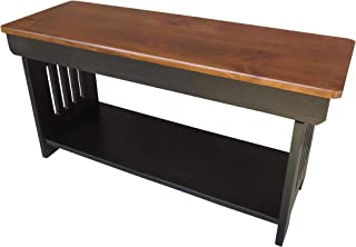 Mission Bench with Shelf Solid Wood 3 Foot Amish Handcrafted Two Tone Finish NO Assembly Required