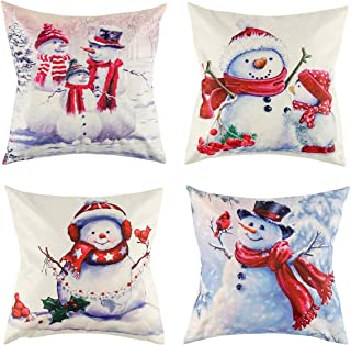 peony man Christmas Snowman Pillow Covers Throw Cushion Pillow Case Cotton Linen for Xmas Happy New Year Winter Home Decoration, 18 x 18 Inches