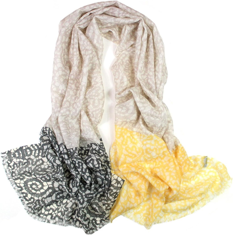 Dahlia Women's 100% Merino Wool Pashmina Scarf  Flower and Pattern