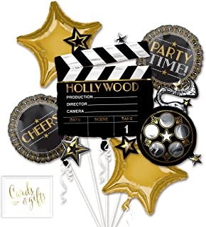 Andaz Press Balloon Bouquet Party Kit with Gold Cards & Gifts Sign, Lights Camera Action Bouquet Foil Mylar Balloon Movie Oscar Emmy Themed Decorations, 1-Set