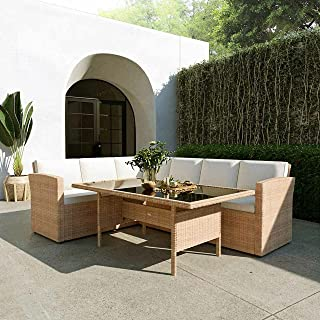 Outdoor Furniture 6 Seater Dining Furniture Set Garden Rattan with Seat & Back Cushions, Beige