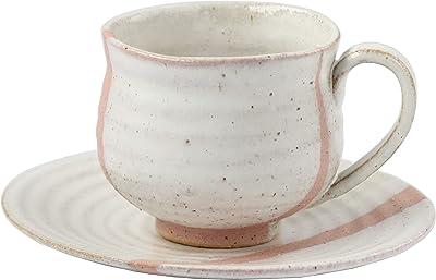信楽焼 潮騒ライン(ピンク)コーヒー碗皿 W307-04