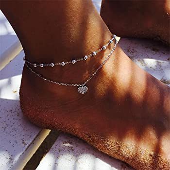 UNKE Multilayer Bohemian Starfish Beads Pendant Anklet Summer Beach Foot Chain Ornaments For Women,Lotus