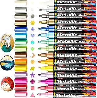 15 Color Assorted Metallic Marker Pens, 3mm Tip Sheen Glitter Painting Pen Card Making,Birthday Greeting,DIY Photo Album,Scrap booking,Rock Painting,Mug,Calligraphy