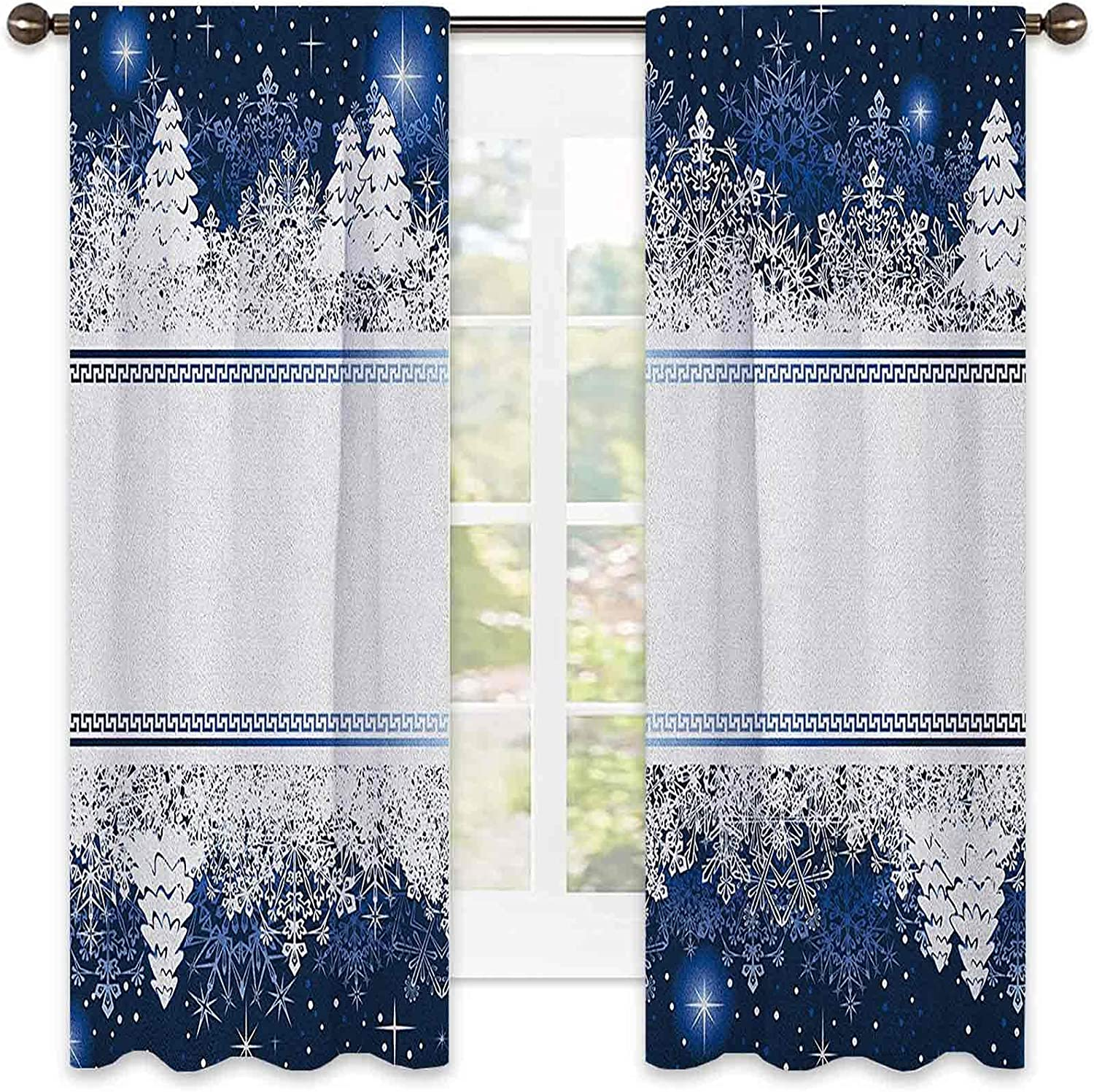Christmas Bedroom Safety and trust Limited price sale Rod Pocket Blackout Frosty Curtain Winter The