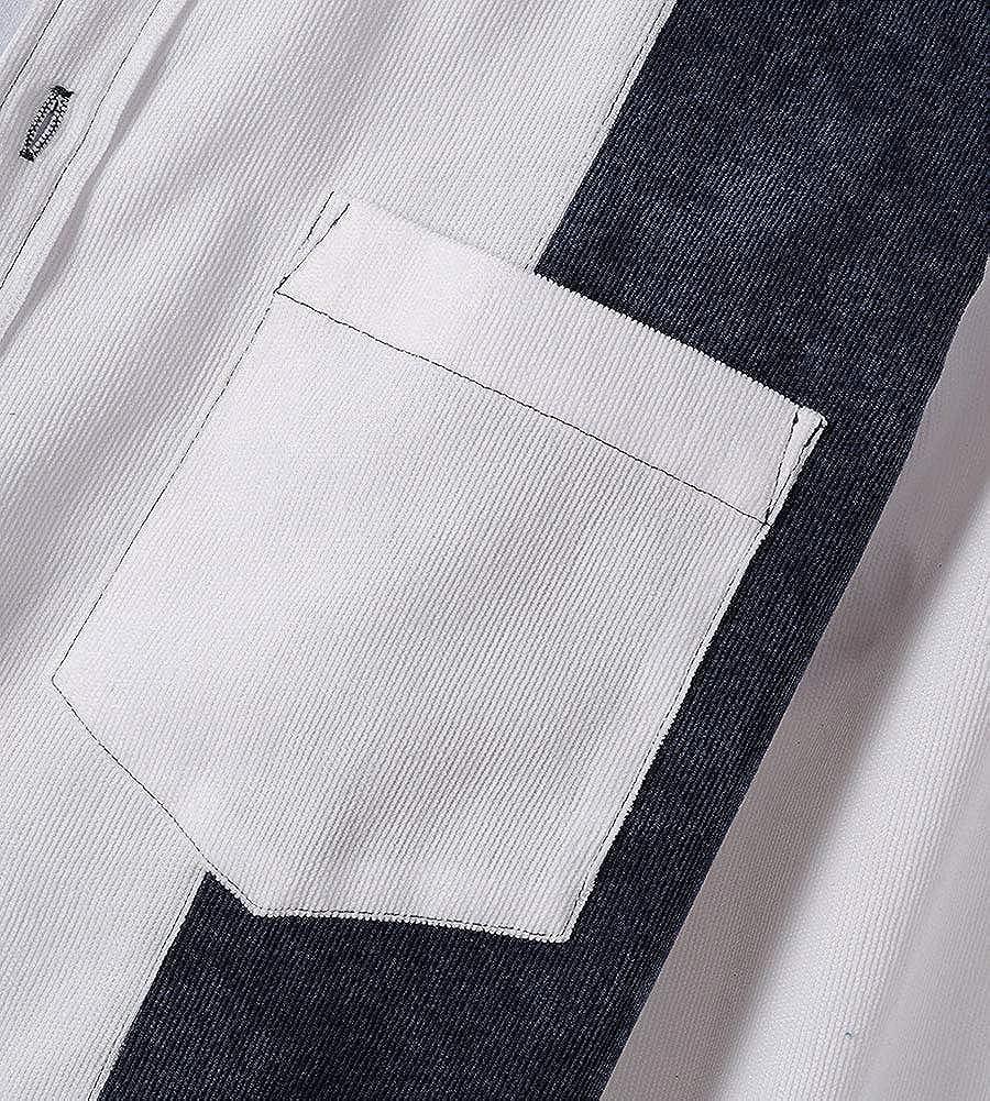 Kedera Mens Corduroy Shirt Patchwork Casual Loose Long Sleeve Jacket Coat