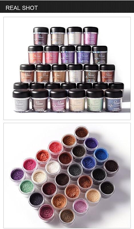 ランダム鹿用心する(#18) Glitter Powder Eyeshadow Single Metallic Color Pigments Eye Shadow Easy to Wear Waterproof Shimmer Cosmetics