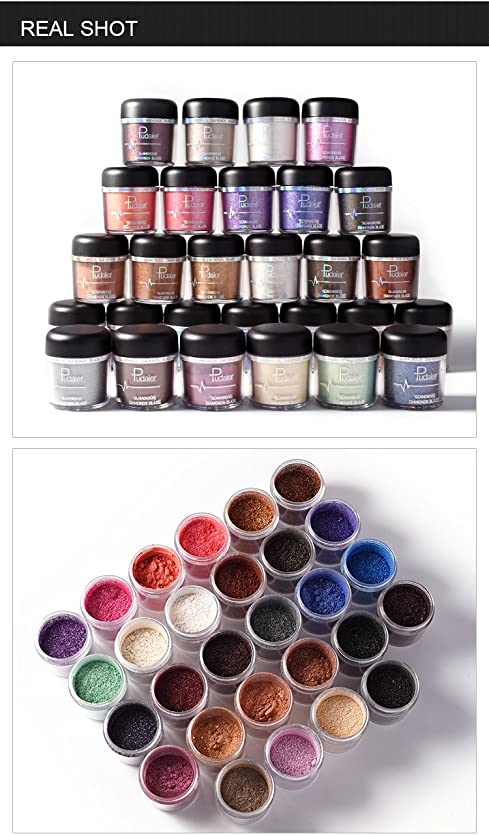 中毒二年生構成する(#28) Glitter Powder Eyeshadow Single Metallic Color Pigments Eye Shadow Easy to Wear Waterproof Shimmer Cosmetics