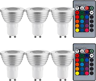 TORCHSTAR 3W Multi-Color GU10 LED Bulb, Dimmable RGB Floodlight Kit, 2 Remote Controllers, Color Changing Reflector, LED Mood Light Bulb, for General, Decorative, Accent Lighting, Silver, Pack of 6