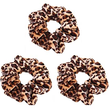 Pinksee 3pcs Leopard Print Hair Bands Set Scrunchy Hair Ties Ropes Scrunchies for Women Hair Accessories