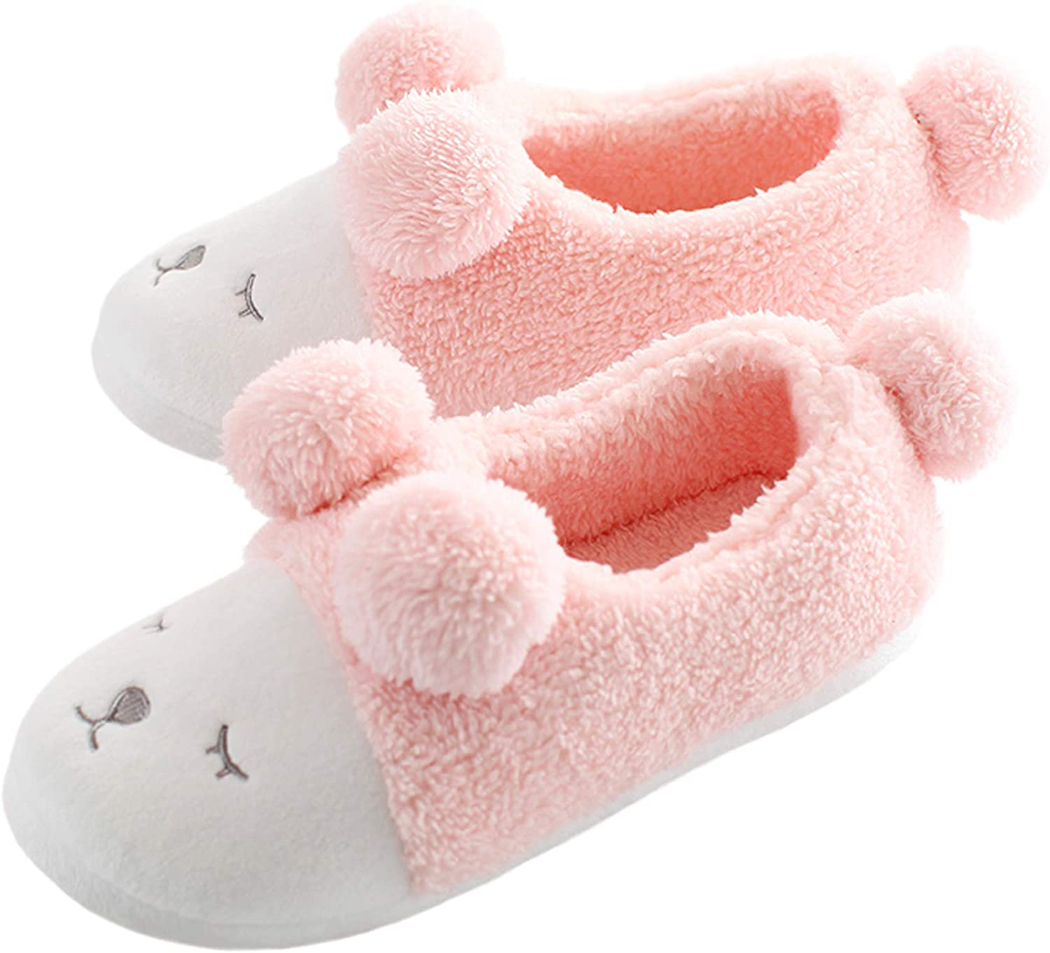 Bestfur Women's Soft Sole Cozy Plush Cute House Slippers Comfortable Home shoes