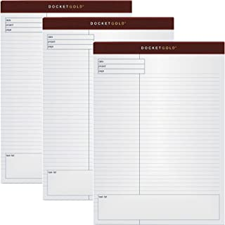 TOPS Docket Gold Planning Pad, Wide Rule, 8.5 x 11.75 Inches, White, 40-Sheet Pads (12 Pads per Pack)