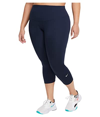 Nike One Tights Mid-Rise Crop 2.0 (Sizes 1X-3X) (Obsidian/White) Women