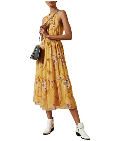 Ted Baker Saffine Cabana Printed Tiered Midi Dress (Yellow) Women