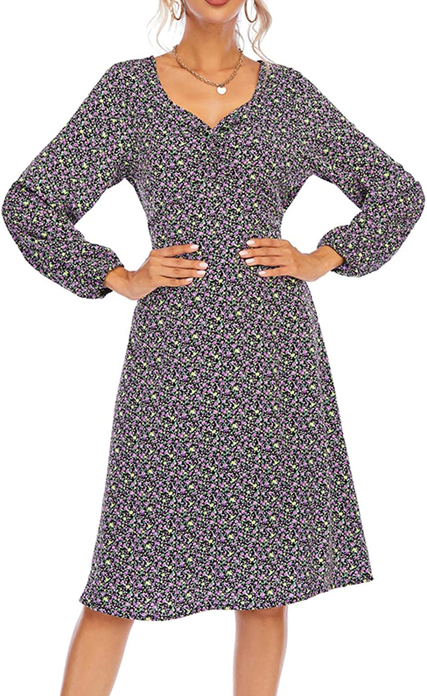 EZ Tuxedo Fall Boho Chiffon Floral Dress for Women V Neck Long Sleeve High Wasit Casual Dress