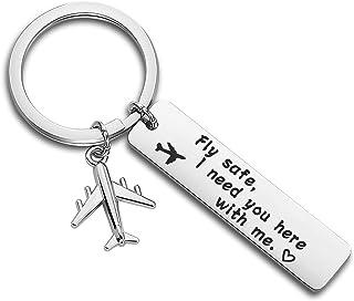 ENSIANTH 「Fly Safe I Need You Here with Me(安全な渡航を、そばにいて欲しいんだ)」キーホルダー パイロット・フライトアテンダントへの贈り物 長距離恋愛ジュエリー 飛行機・ジェットトラベラーギフト