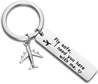 ENSIANTH Fly Safe I Need You Here with Me Keychain Pilot Flight Attendant Gift Long Distance Jewelry Airplane Jet Traveler Gift