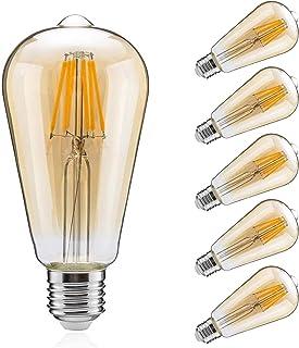 共同照明 6個入り LED電球 E26 60W形相当 8W エジソンランプ 850lm 電球色 GT-BB-8W-E26-3-6B エジソン電球 クリア電球 led フィラメント ST64 広配光タイプ 360度発光 レトロ電球 クラシック ア...