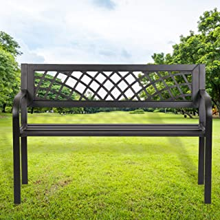 FDW Patio Park Garden Bench Porch Path Chair Outdoor Deck Steel Frame, Black