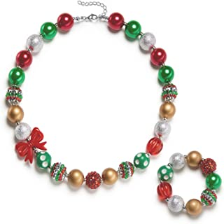 Girls Holiday Bubbegum Necklace with Gift Box