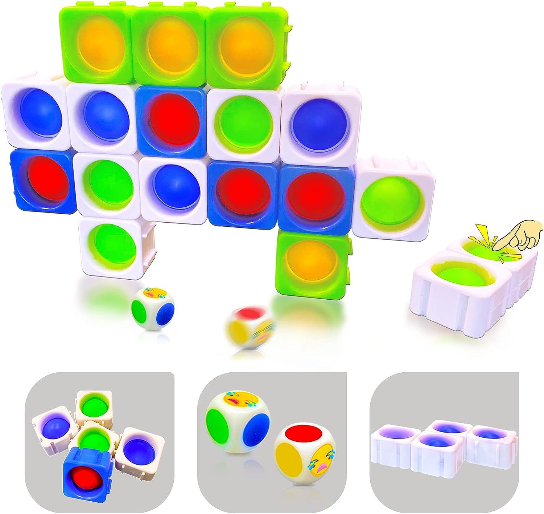 ENZOU Push Pop Fidget Toys,16 PCS Pop Puzzle Fidget Pop Game Bui