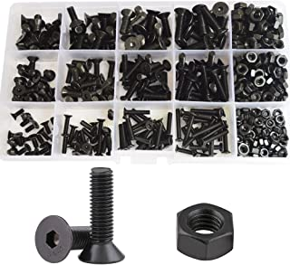 Flat Hex Socket Head Cap Screws Metric Thread Hexagon Allen Head Drive Countersunk Machine Bolts Nuts Standard Fastener Hardware Assortment Kit Set 500pcs Alloy Steel 10.9 Class Black M3 M4 M5