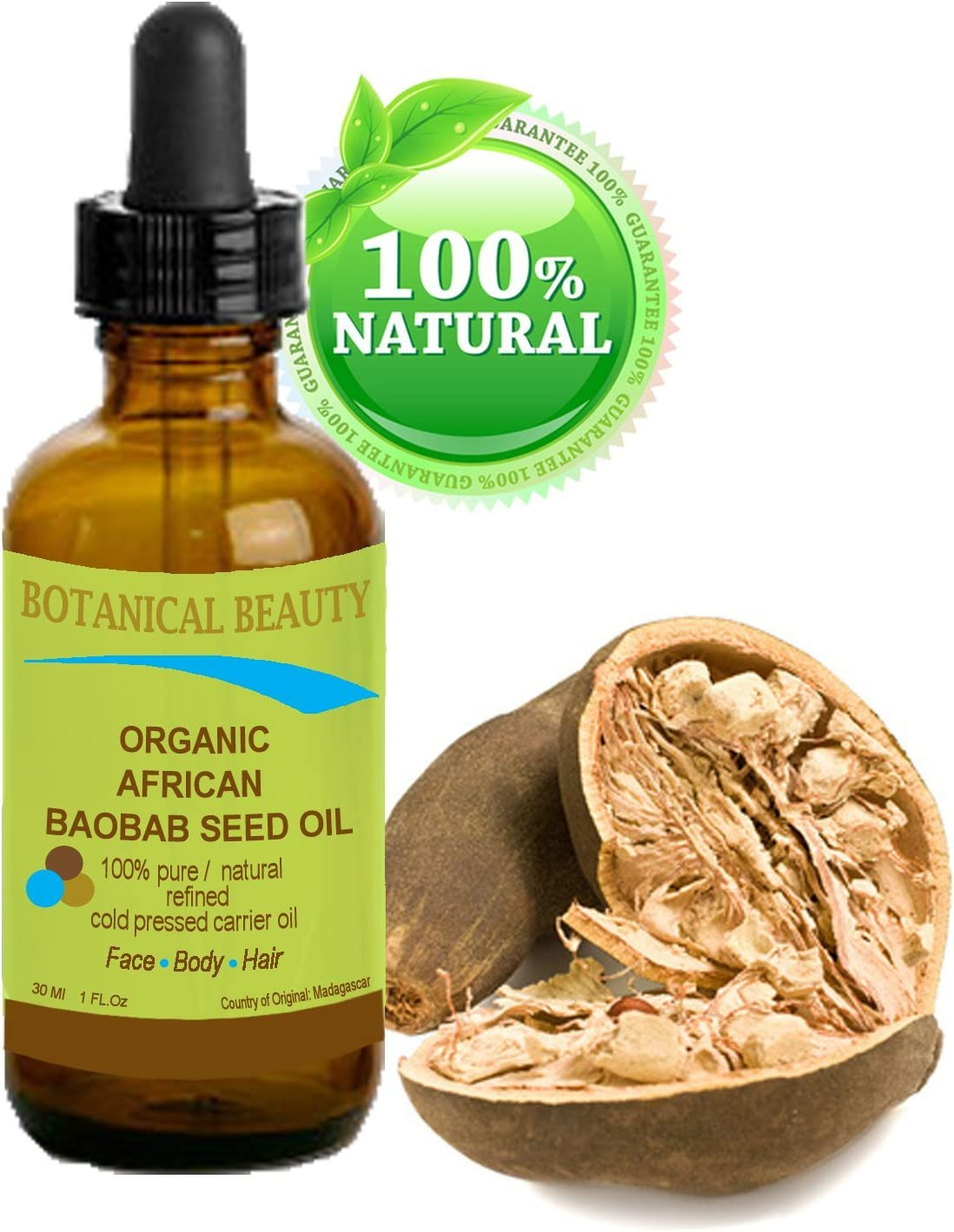 African Baobab Seed Oil 100 Pure Natural Undiluted Refined Cold Pressed Carrier Oil For Skin Hair Lip And Nail Care Rich In Vitamins A D E And F And E 0 5 Fl Oz 15ml Botanical Beauty Beauty