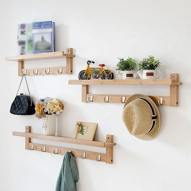 ZHIRONG Coat Rack Solid Wood Combination Wall Shelves Decorative Frame Porch Coat Hook (color   Wood color)
