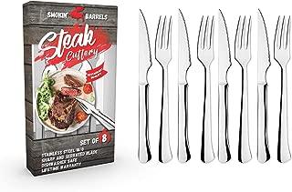 Takestop/® cuchillo afilado para cortar carne de acero inoxidable Juego de 6 cuchillos de carne con mango negro