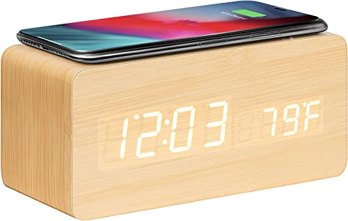 high quality VIVOSUN Wooden Alarm Clock with sale Wireless Charging, Sound Control, Time, Date, Temperature Display, Adjustable LED Backlight Brightness for discount Office and Bedroom online sale